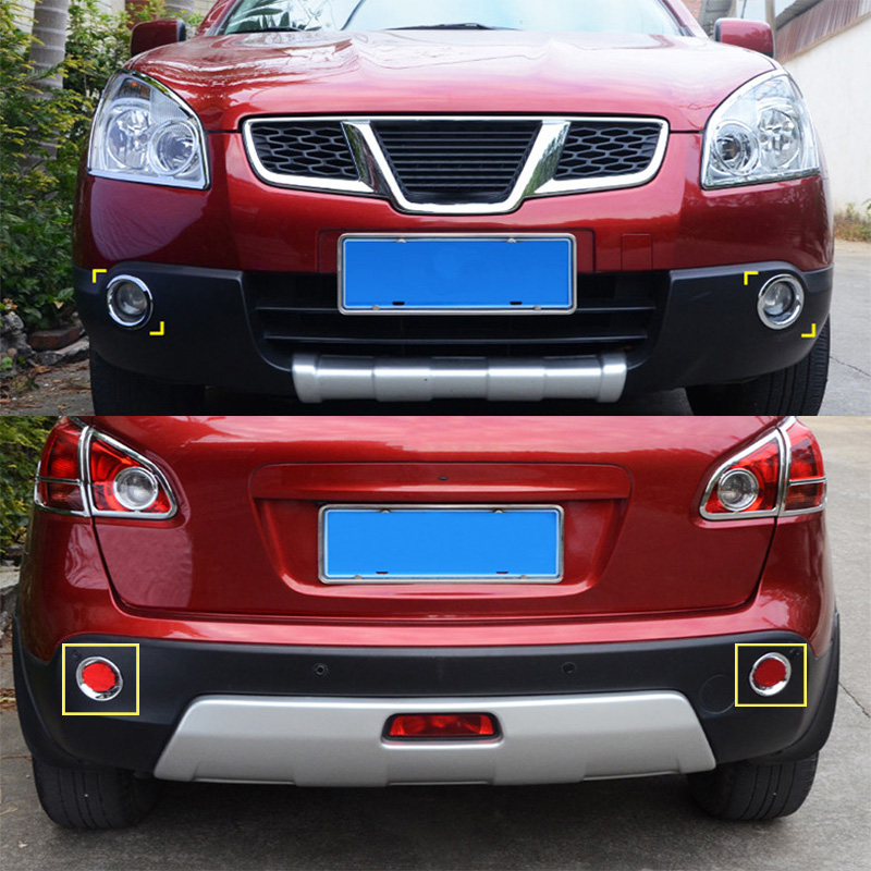 car styling chrome front rear fog lamps cover trim for nissan qashqai j10 2006 2007 2008 2009. Black Bedroom Furniture Sets. Home Design Ideas
