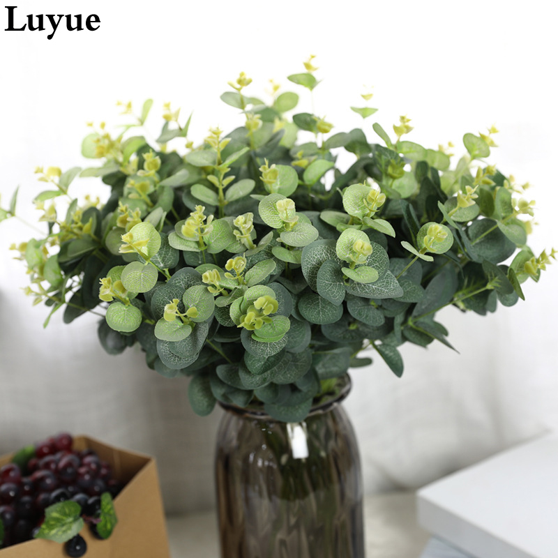 49CM Green  Plant Artificial Parts Silk Plant Round Leaves Flower Arrangement Accessories Wedding Home Decoration
