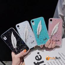 Luxury feather rhinestone phone case for iPhone X XS XR MAX Personality fashion net red phone case for iPhone 6 6s 6p 6sp 7 8 7p цена и фото