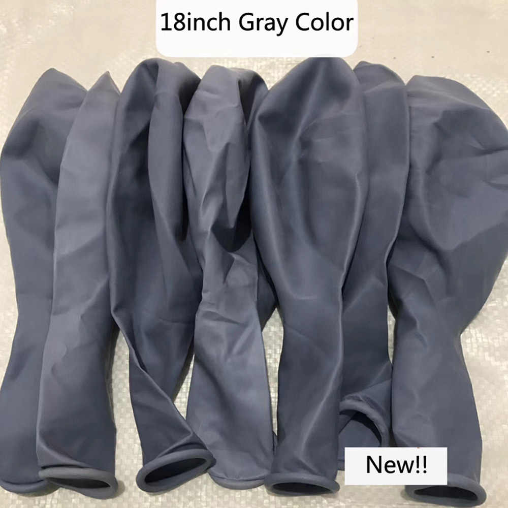 NEW 18inch Big Gray Balloon 1PC High Quality Ma Caron Gray Color Latex Ballons Birthday Wedding Party Thick Helium Balloon ZY198