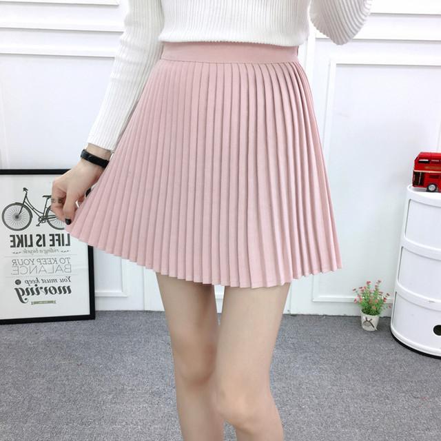 Falda plisada de otoño/invierno 2016 de estilo europeo elegante tul falda plisada gasa de la falda azul de las mujeres vintage pink mini falda