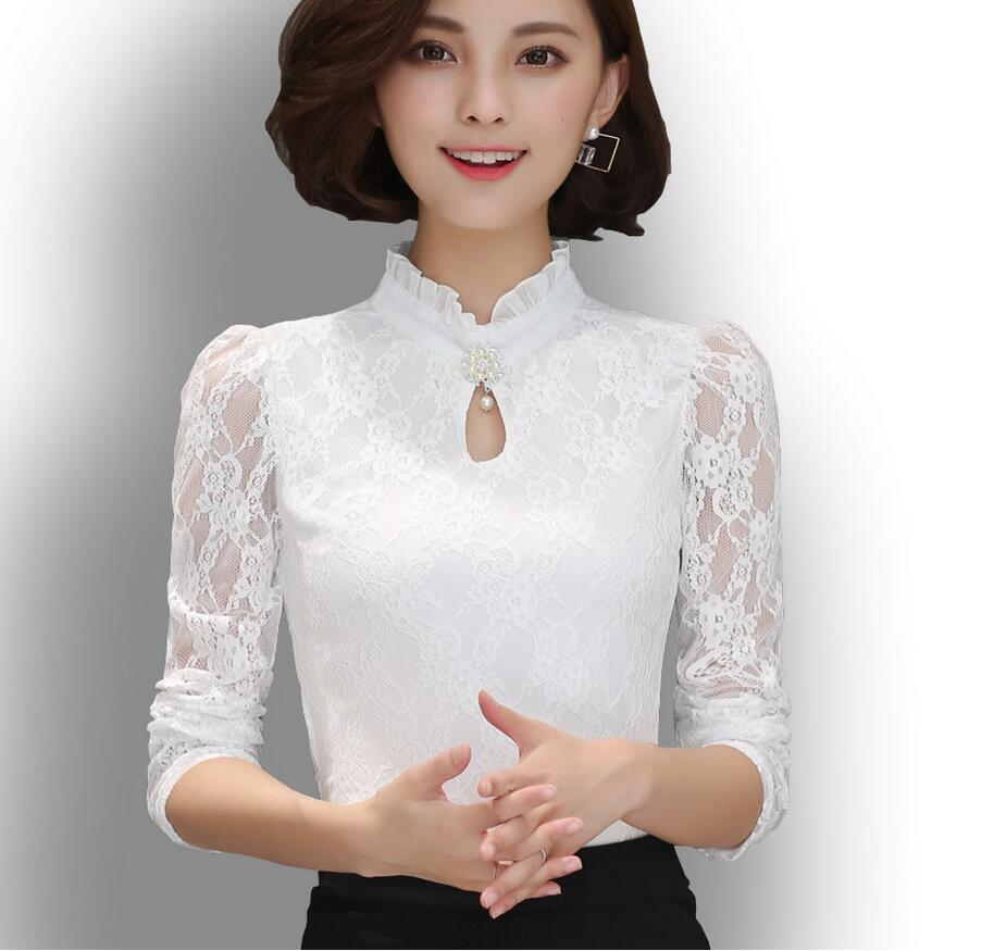 2017 Spring Autumn Women Long Sleeve Lace Floral   Blouse     Shirts   Crochet Lace Elegant   Blouse   Casual Slim Tops Office   Shirts