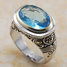 Model New 12*14mm Blue Topaz 925 Sterling Silver Ring Free Delivery F365 USA dimension 6 7 eight 9 10