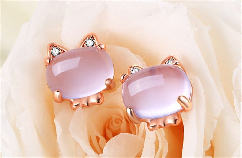 Rose Gold Pink Quartz Cat Necklace Earrings and Ring Jewelry Set