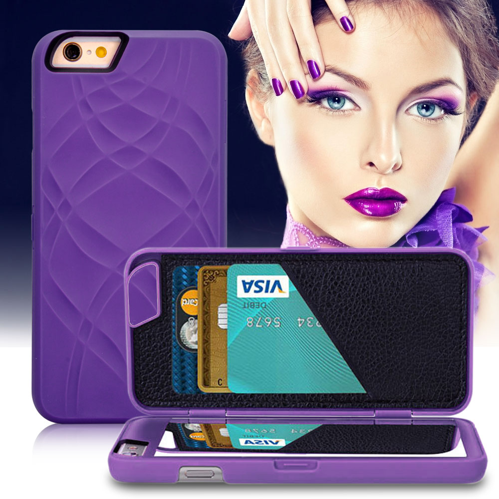 Fashion Lady 3D Water Flip PU Leather Case For iPhone 6 6S For iPhone 6 Plus 6S + Wallet Mirror Case Dual Layer Card Slot Cover