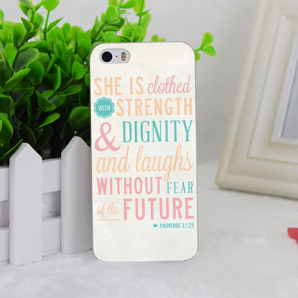 A0980 Christian Theme Bible Verse Proverbs Transparent Hard Thin Case Cover For Apple iPhone 4 4S 5 5S SE 5C 6 6S 6Plus 6s Plus