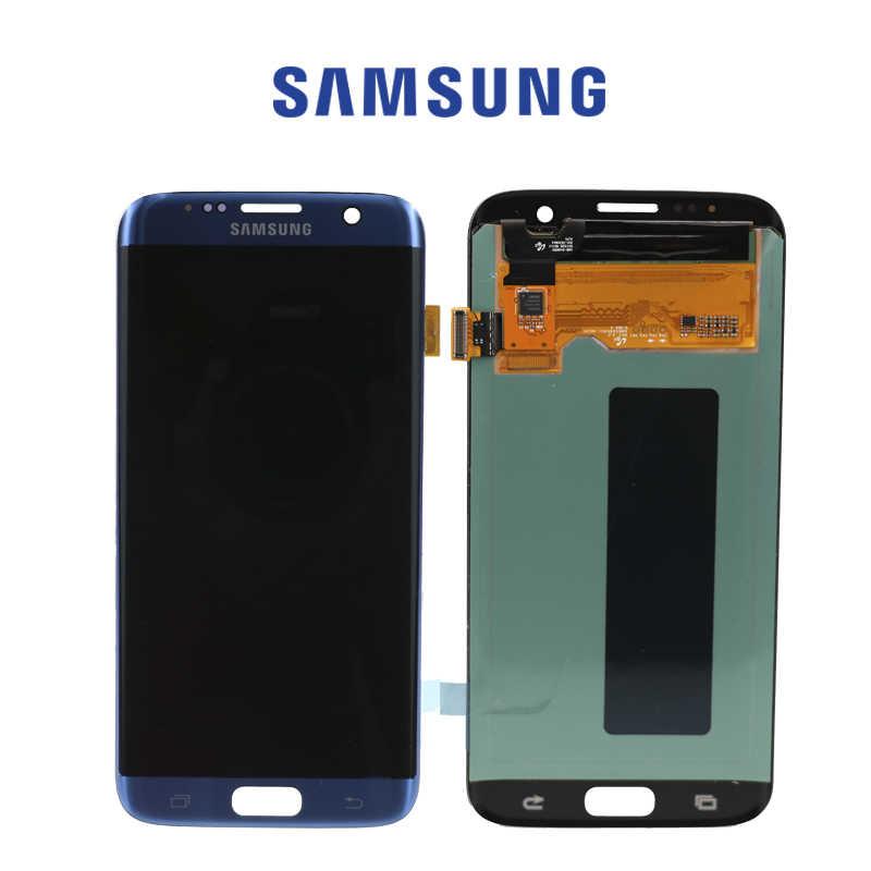 الأصلي 5.5 ''AMOLED عرض مع حرق الظل صورة لسامسونج غالاكسي S7 حافة G935 G935F LCD مع الإطار محول الأرقام بشاشة تعمل بلمس