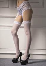 Sexy white Crossdresser stockings lace tops garter belt