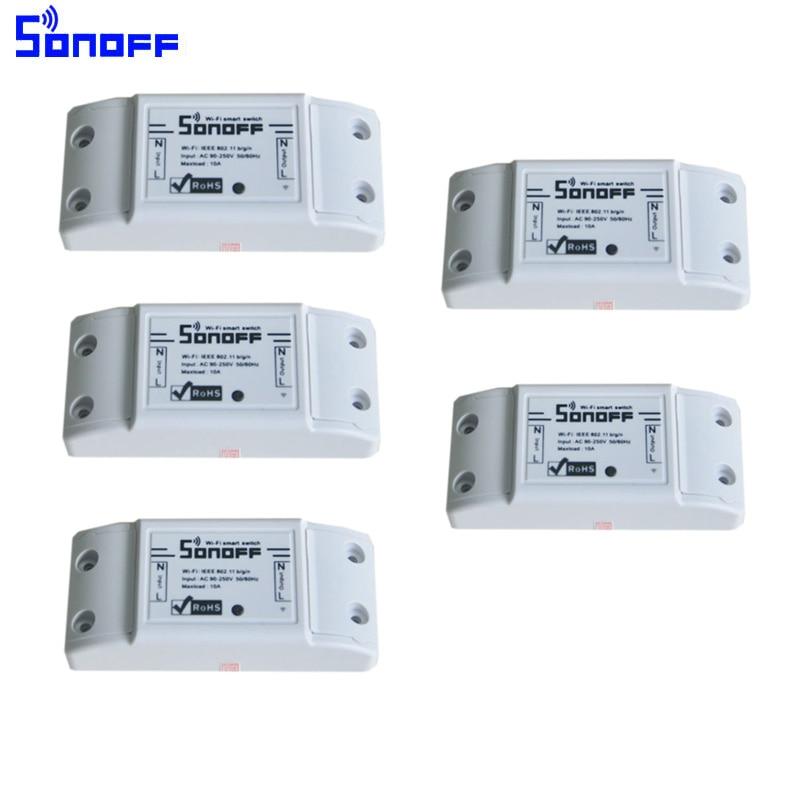 5 unids/lote Sonoff Wifi Smart Switch, Módulos De Automatización inalámbrico par