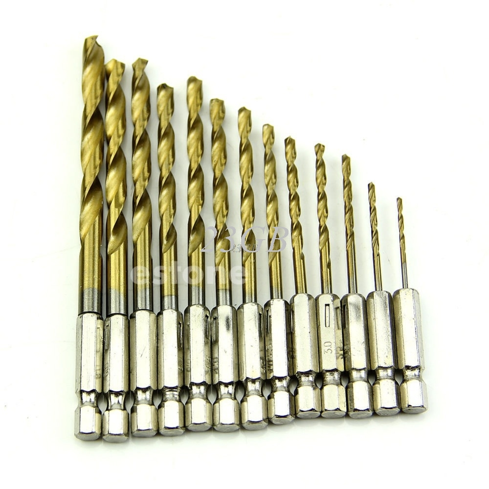 Hex Shank Quick change Cobalt Drill Bit Set Multi Bits 13PCS/SET A03_15 g 3pcs set quick change hex shank larger titanium coated m2 tool step drill bit set 71960 t