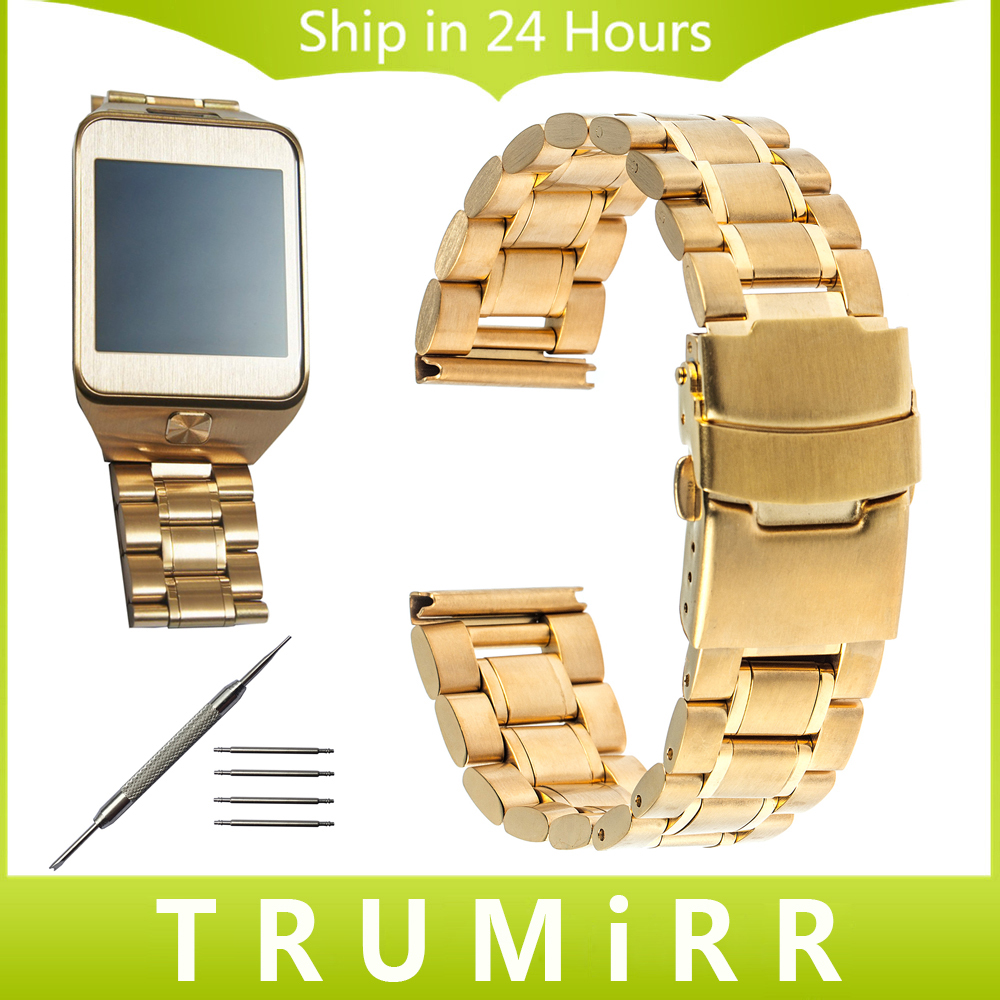 22mm Stainless Steel Watch Band Clasp Buckle Strap Bracelet for Samsung Galaxy Gear 2 R381 R382 R380 Moto 360 2 Gen 46mm 2015
