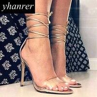 جديد المرأة الكاحل حزام الصنادل شفافة عالية الكعب الدانتيل متابعة مضخات الخناجر أزياء سيدة أحذية الكعب 11 سنتيمتر y125