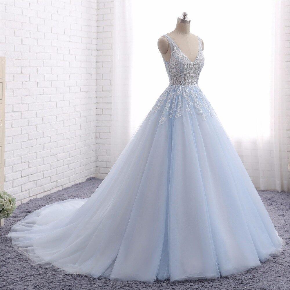 Us 195 0 Baby Blauw Trouwjurken Vestido De Noiva 2017 Een Lijn V Hals Kant Applicaties Tulle Bruidsjurk Robe De Mariee In Bruidsjurken Van Bruiloft