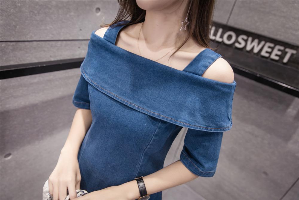 fe54b21bf20 Off Shoulder Dress Women 2018 Summer Korean Style Vintage Ripped ...