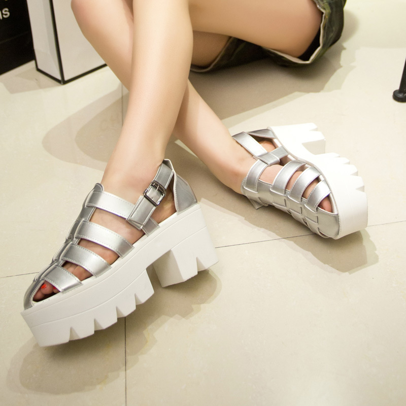 badfc5a62880d Open Toe Caged Summer Women Sandals Black Leather Peep Toe Flats Platform  Shoes High Heels Chunky Thick Heel wedges shoe