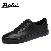 BOLE Exquisite Handmade Men Genuine Leather Shoes Designer Superstar Leisure Walking Lace Up Classic Small White Shoes Men Flats