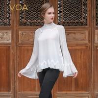 VOA белый шелковая блузка плюс Размеры Повседневное Для женщин топы Flare с длинным рукавом Элегантный сетки женские офисные рубашка осень пул