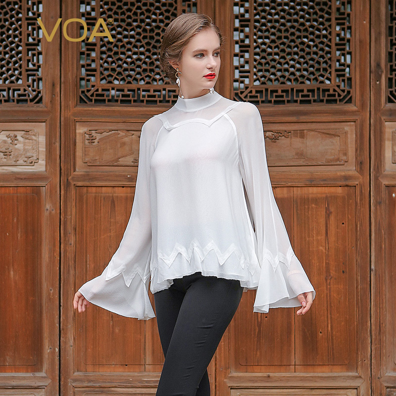 VOA White Silk Blouse Plus Size Casual Women Tops Flare Long Sleeve Elegant Stand Collar Mesh Office Lady Shirt Spring BSA00201