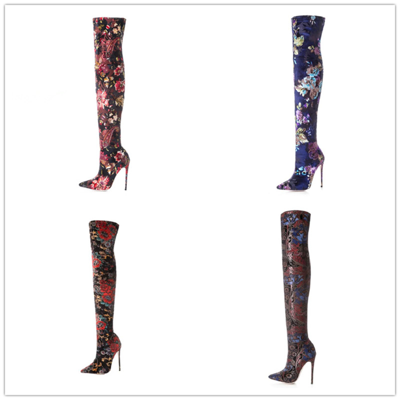 European and American style over the knee boots elegant queen style 12cm thin heel shoes floral slim elastic lady's long boots вьетнамки slim floral