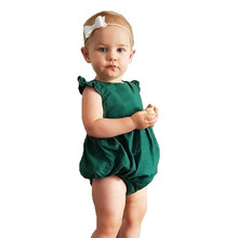 New Arrival Babies Summer Solid Bodysuits Newborn Infant Baby Girl Dark Green Bodysuit Outfits Sunsuit Clothes 0-2T(China)
