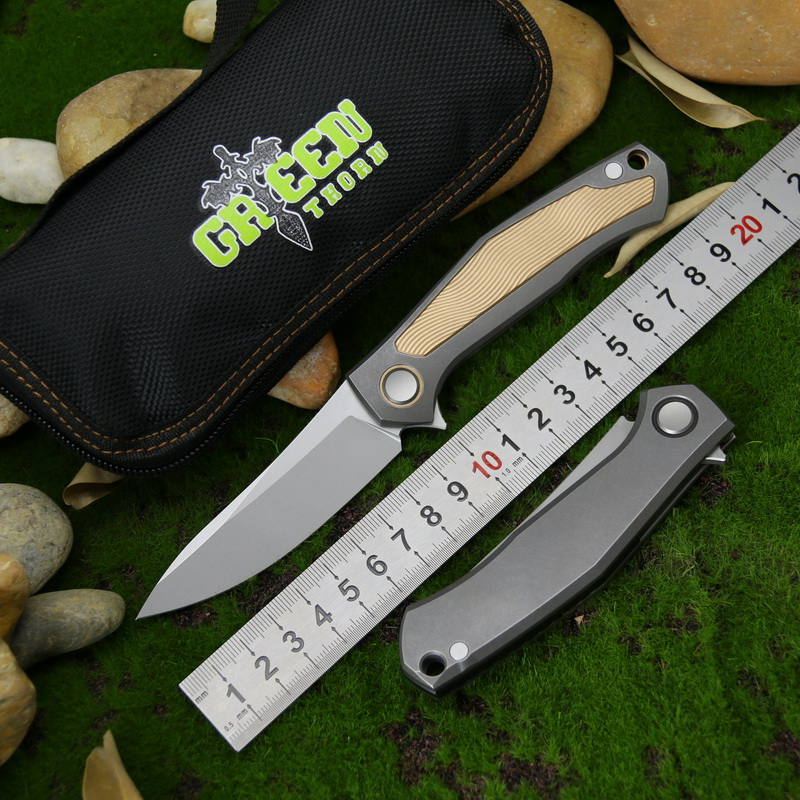 Green thorn poker D2 Steel Flipper Folding Knife Titanium Handle Outdoor Camping Hunting Pocket Fruit kinfe Survival EDC Tools in Knives from Tools
