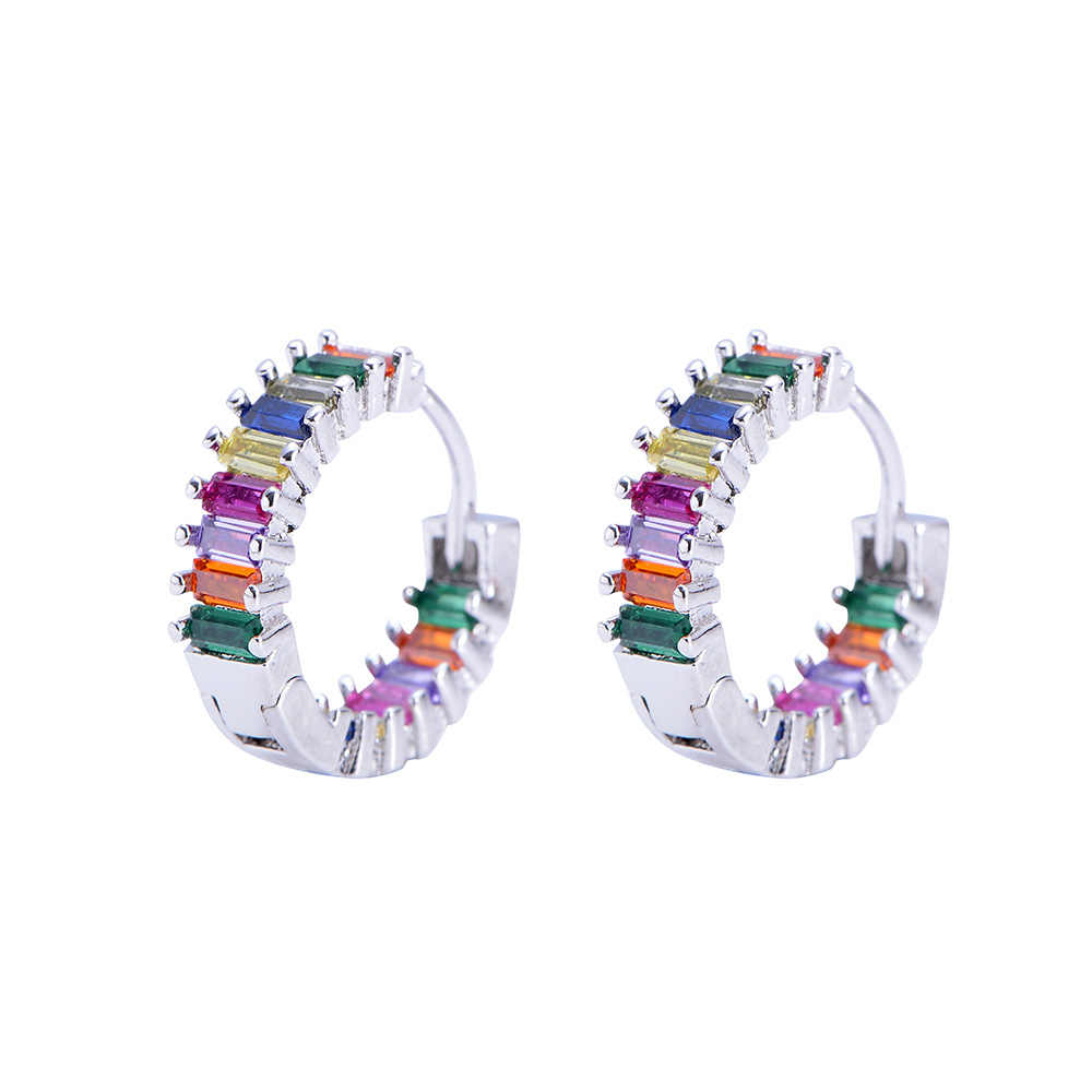 2 Pcs CZ Stud Anting-Anting Rainbow Gold Surat Hati Anting-Anting untuk Wanita Korea Anting-Anting Zirconia Crystal Pesona Perhiasan Hadiah