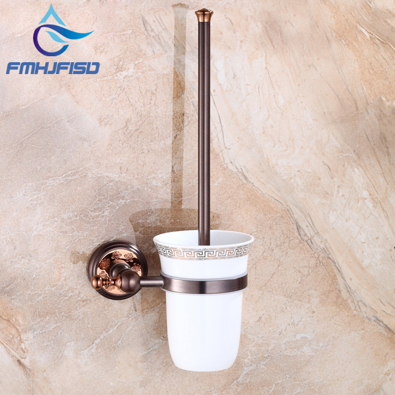 Solid Brass Material with Ceramic Cup Bathroom Toilet Brush Holder Oil Rubbed Bronze bathroom toothbrush cup holder double ceramic cup solid brass cup holder oil rubbed bronze