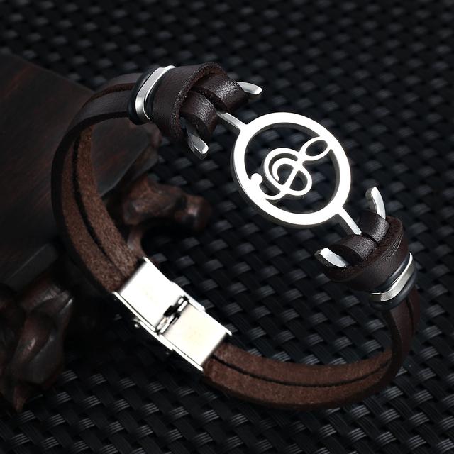 Men's Music Note Shaped Pendant Bracelets