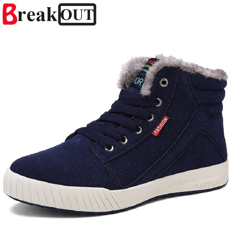 Break Out New Arrival Men Winter Boots Snow Boots for Men Ankle Boots Warm with Plush&Fur Fashion Men Shoes xiaguocai new arrival real leather casual shoes men boots with fur warm men winter shoes fashion lace up flats ankle boots h599
