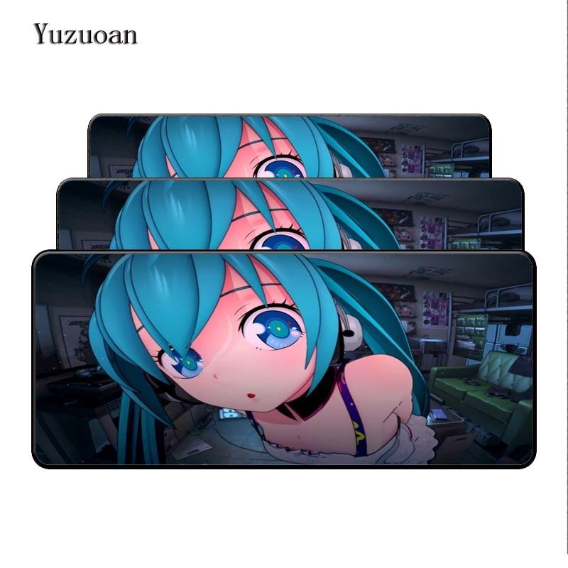 Yuzuoan Customized Hatsune Miku Eye Style Gaming Mouse Pad PC Computer Laptop Gaming Mice Mat For Gamer Large Overlock Desk Mat