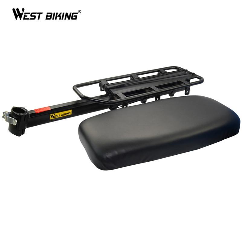 ФОТО WEST BIKING Bike Rack + Rear Seat Bicycle Thick Shelf Board Extended Electric Vehicle Rear Seat Cycling Rear Saddle+Bicycle Rack