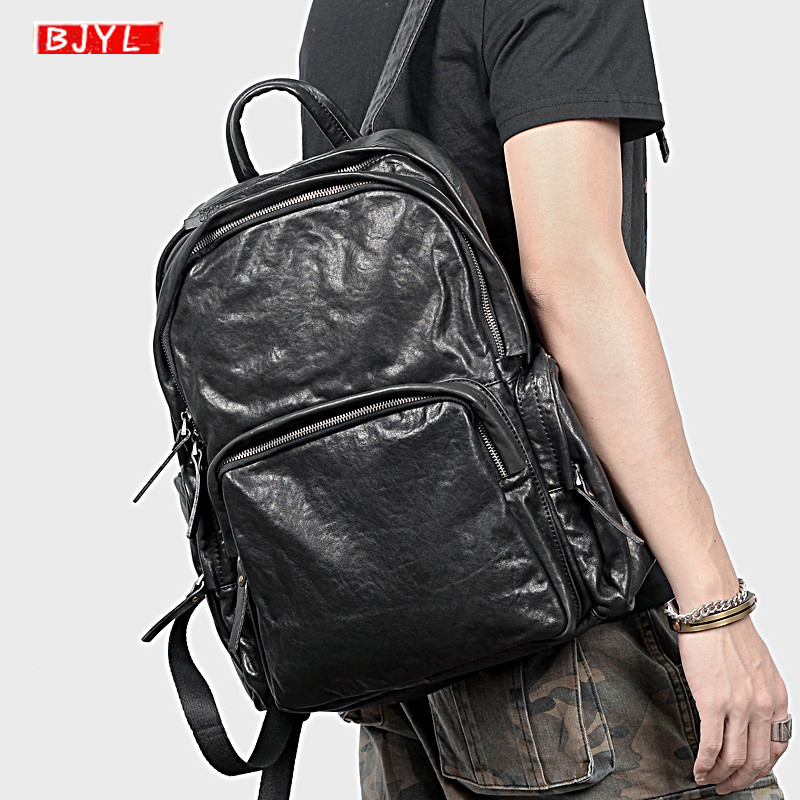 Genuine Leather mens backpack vegetable tanned leather men shoulder bag large-capacity school bag retro black leather backpackGenuine Leather mens backpack vegetable tanned leather men shoulder bag large-capacity school bag retro black leather backpack