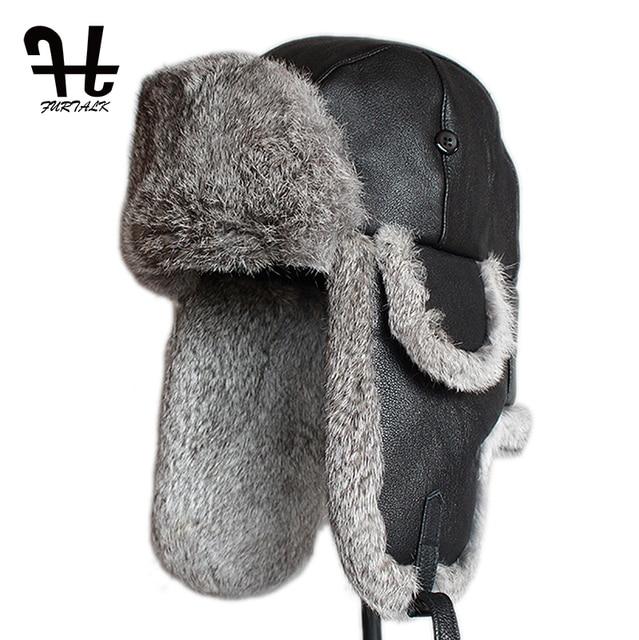 dc4a8e1ead3 Furtalk Mens Lamb Sheep Leather Rabbit Russian Fur Hat dad hats winter  soviet fur Ushanka trapper hat for men
