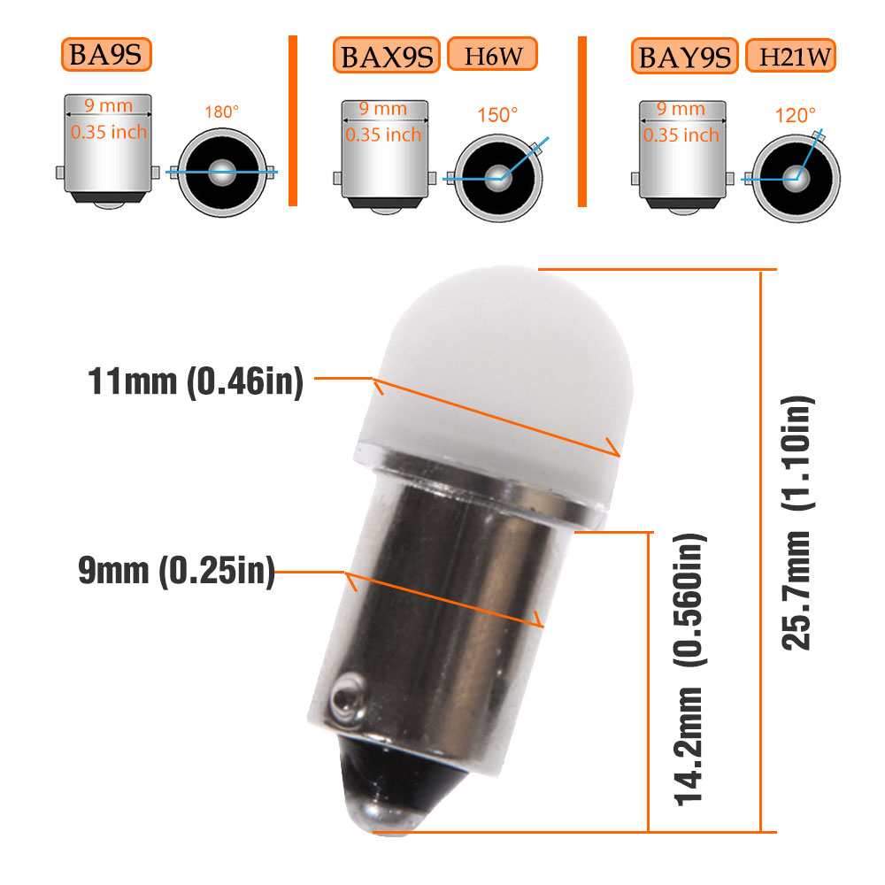 Pair BA9S R5W R10W BAX9S BAY9S H21W H6W Car LED Bulbs For License Plate Lights Reading Dome Door Parking Width Lamp Ect in Signal Lamp from Automobiles Motorcycles