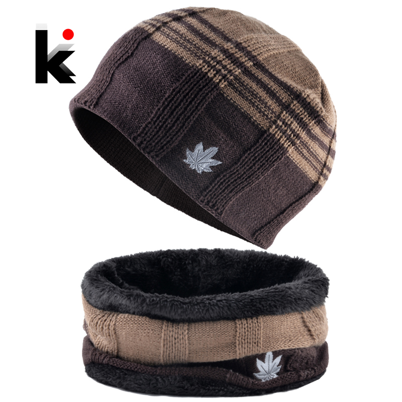 Winter Warm Hat Scarf Set For Men Fashion Maple Leaf Knitted Wool Skullies Beanies Knit Striped Patchwork Color Cap Male Ski Hat