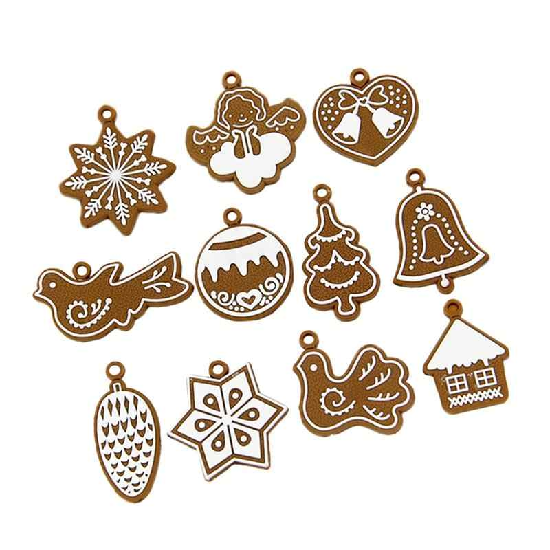 11pcs Christmas Pendants Animal Snowflake Gingerbread Man Creative Party Supplies Hanging Decoration For Diy Christmas