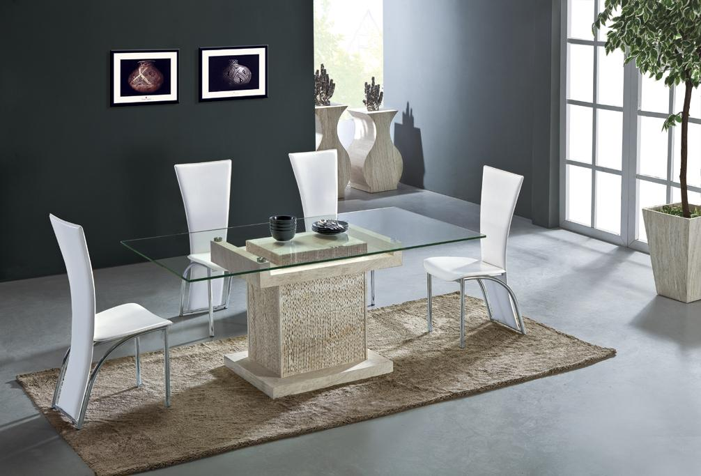 Travertine Dining Table Set Luxury High Quality Natural