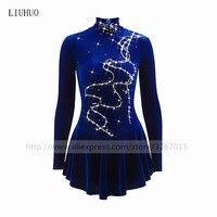 Figure Skating Dress Women's Girls' Ice Skating Dress Royal Blue High elastic velvet fabric Handmade Fine drill