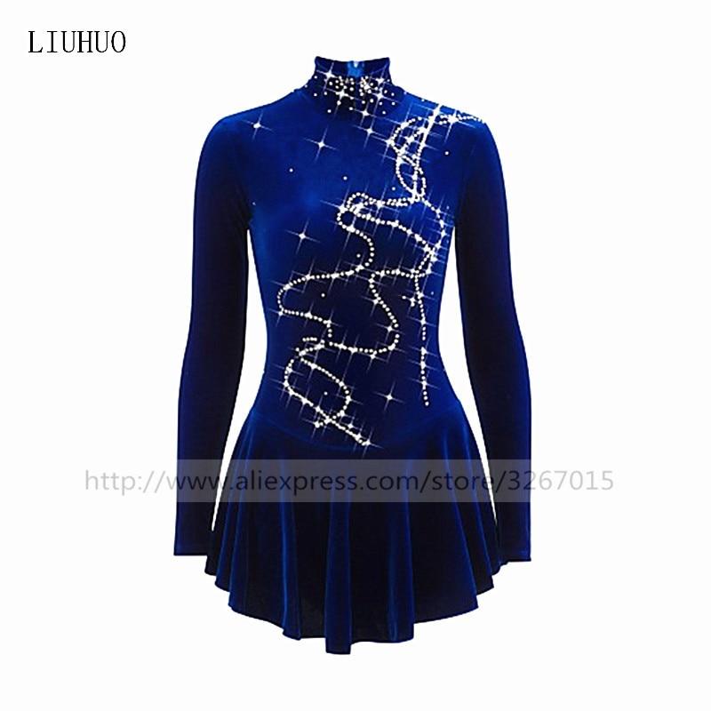 Pattinaggio di figura Vestito delle Ragazze Delle donne Pattinaggio Su Ghiaccio Dress Royal Blue Alta velluto elastico in tessuto Fatti A Mano Multa trapano