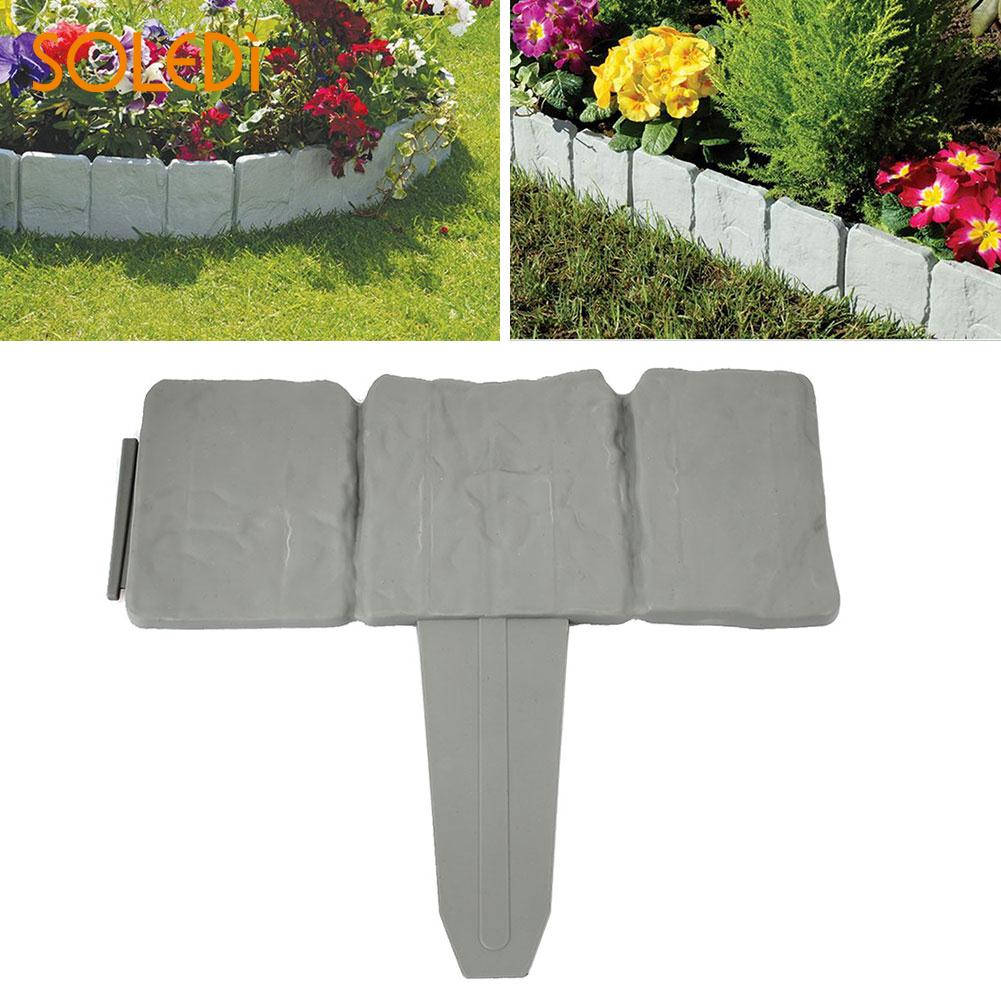 22.5*25.5*2CM Gray Garden Border Plastic Lawn Decorate Garden Fencing Gardening Gray Practical Garden Fence Drop Shipping ...