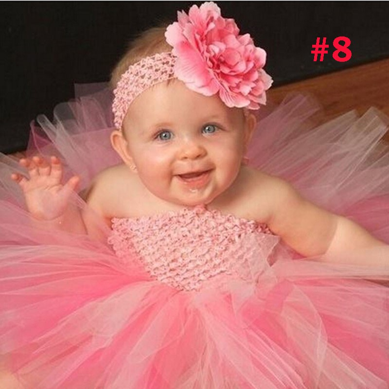 Toddler Girls Fancy Princess Tutu Dress Holiday Flower Double Layers Fluffy Baby Dress with Headband Photo Props TS044 24