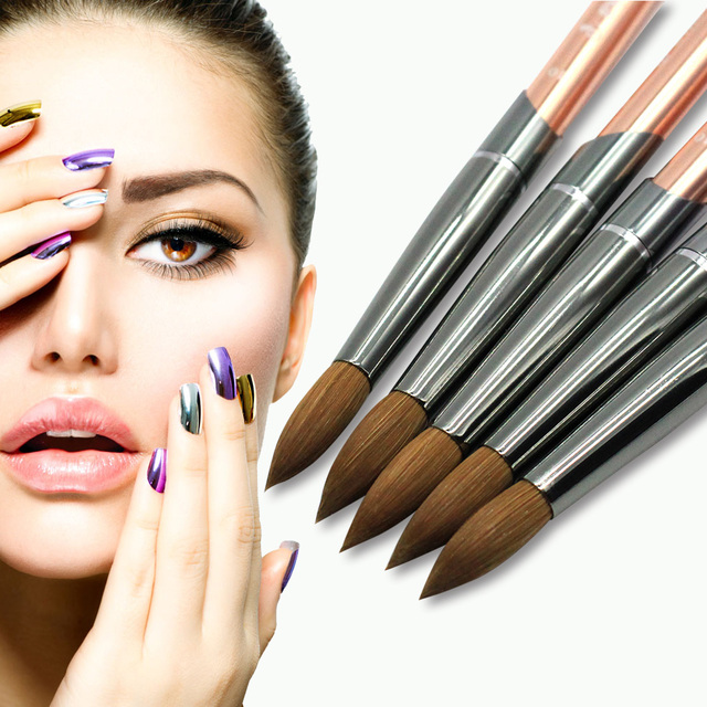 Eval Paint Brush 100% Pure Kolinsky Sable Nail Brush UV Gel Acrylic Nail Art Brush Set Nail Tool