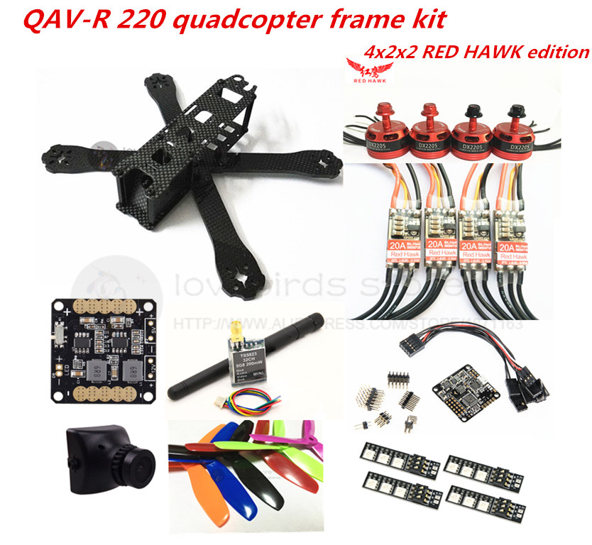 DIY FPV mini drone QAV-R 220 quadcopter pure carbon 4x2x2 frame kit DX2205 + RED HAWK 20A ESC 2-4S + NAZE32 / SP F3 + camera carbon fiber frame diy rc plane mini drone fpv 220mm quadcopter for qav r 220 f3 6dof flight controller rs2205 2300kv motor