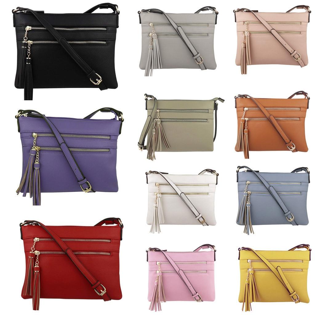 Xiniu Fashion Women Zipper Solid Color Tassel Shoulder Bags Messenger Bag Phone Bag Famous Brand Borsa A Tracolla Da Donna#30