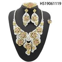 Yulaili Trendy Luxury Flower Shape Silver Necklace Pendant Earrings Bracelet Ring Dubai Jewelry Sets For Women Party Wedding