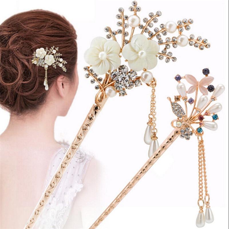 TEROKK Rhinestone Imitation Pearl Hair Jewelry Hair Sticks Step Shake Han Chinese Bridal Hair Hairpin