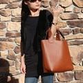 Bolsas Hombro de las mujeres 2015 de LA PU de Cuero Naranja Señoras Bolsas de asas tejidas Bolsos de Moda para Las Mujeres de La Vendimia Tejida Cinturón de Manejar bolsas