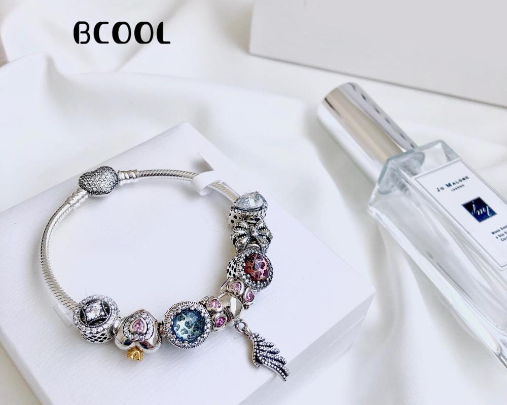 100%925 Sterling Silver Original 1:1 Stylish Silver Charm Bracelet For Feminine Angel Wing Bracelet Jewelry100%925 Sterling Silver Original 1:1 Stylish Silver Charm Bracelet For Feminine Angel Wing Bracelet Jewelry