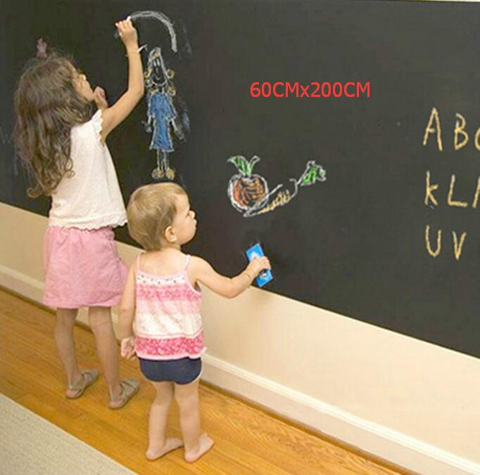 60CMx200CM Vinyl Chalkboard Child painting Removable Blackboard Decals Great Gift for Kids blackboard stickers guideboard removable personalised vinyl wall stickers