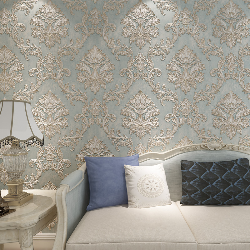 European Style Wallpaper for Walls 3 d Vintage Non Woven Wallpaper Rolls Blue Damask Wall Paper Floral for Bedroom Living Room цена